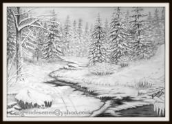 Picturi in creion / carbune Piriu prin padure