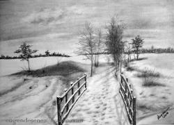 Picturi in creion / carbune singuratatea iernii