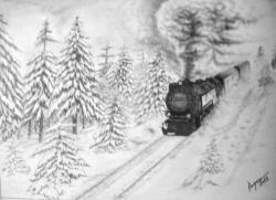 Picturi in creion / carbune trenul de vis