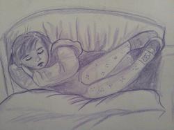 Picturi in creion / carbune La somn