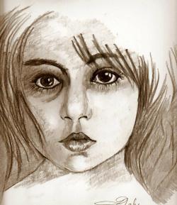 Picturi in creion / carbune Portret de copil