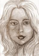 Picturi in creion / carbune Portret de fata