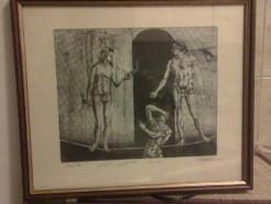 Picturi in creion / carbune Adam si eva ispita sarpele