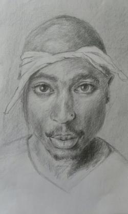 Picturi in creion / carbune tupac shakur