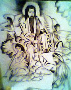 Picturi in creion / carbune Cele 10 porunci