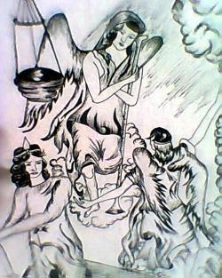 Picturi in creion / carbune Rugaciune