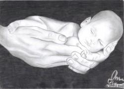 Picturi in creion / carbune Newborn