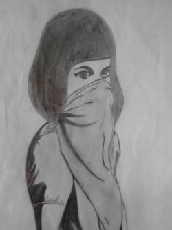 Picturi in creion / carbune Fata misterioasa