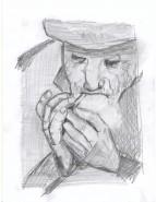 Picturi in creion / carbune Batran fumator