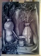 Picturi in creion / carbune Natura statica