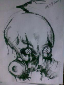 Picturi in creion / carbune Craniu X