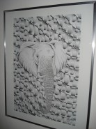 Picturi in creion / carbune Africa elefant