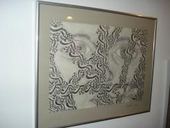 Picturi in creion / carbune Femeia cu orhideea alba