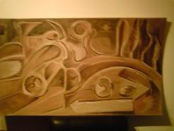 Picturi in creion / carbune Biciclist compozitie abstracta
