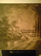 Picturi in creion / carbune Peisaj de iarna