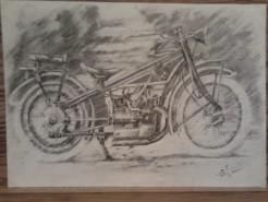 Picturi in creion / carbune Primele motociclete bmw