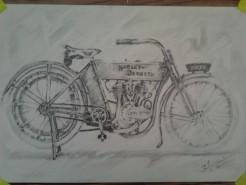 Picturi in creion / carbune Primele motociclete harley