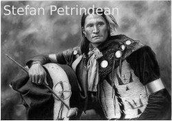 Picturi in creion / carbune American native 1 by stefan petrindean
