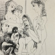 Picturi in creion / carbune 5 femei si un barbat