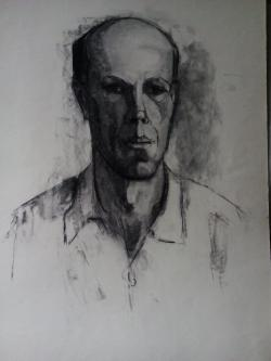 Picturi in creion / carbune c7 dupa model, in studentie anii 70