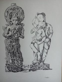 Picturi in creion / carbune Nayaka and his Queen Thanjavur,Tamil Nadu