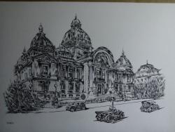 Picturi in creion / carbune palatul CEC