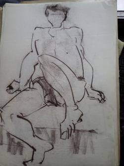 Picturi in creion / carbune st 15 anii 70