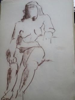 Picturi in creion / carbune st 18 anii 70