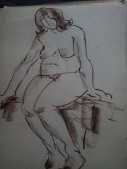 Picturi in creion / carbune st 19; anii 70