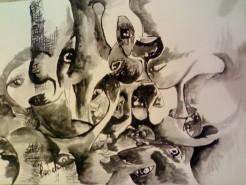 Picturi in creion / carbune Metamorfoza parului