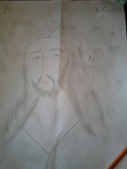 Picturi in creion / carbune Mantuitorul