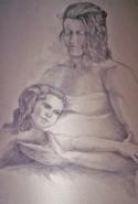 Picturi in creion / carbune Mama cu fiica