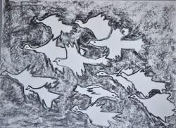Picturi in creion / carbune Migratie