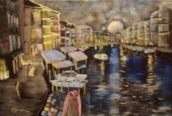 Picturi maritime navale Venetia in noapte