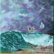 Picturi maritime navale Fuga de furtuna
