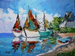 Picturi maritime navale Micul port