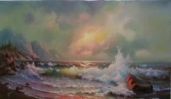 Picturi maritime navale Valuri inspumate