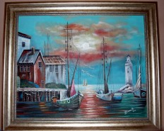 Picturi maritime navale Apus