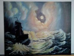 Picturi maritime navale Corabie in noapte