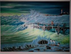 Picturi maritime navale Vine furtuna