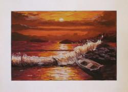 Picturi maritime navale Valuri in amurg