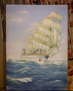 Picturi maritime navale Bricul Mircea - 75 de ani