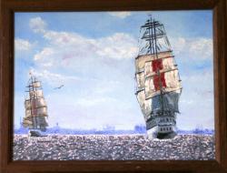 Picturi maritime navale Spre port pe mare calma