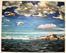 Picturi maritime navale Gaste salbatice in zbor