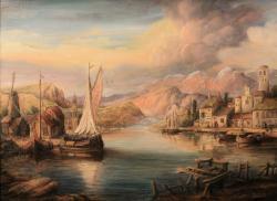 Picturi cu peisaje Harbor Scene