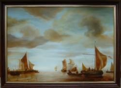 Picturi maritime navale Reproducere libera dupa jan van de capelle