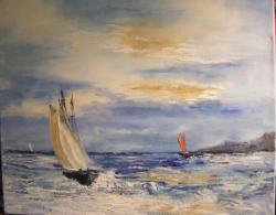 Picturi maritime navale Panze in departare