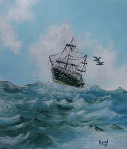 Picturi maritime navale Printre valuri