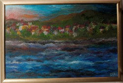 Picturi maritime navale Apusul in port