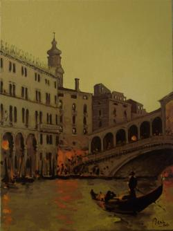 Picturi maritime navale Venetia,Podul Rialto